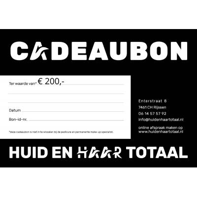 Cadeaubon Huid en Haar Totaal - 200 euro